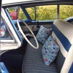 christines route 66 cushions in their 1958  rocket 88 oldsmobile
