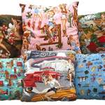 scatter cushions in mixed fabrics