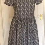 sharons dress in robert kaufman mod geek fabric