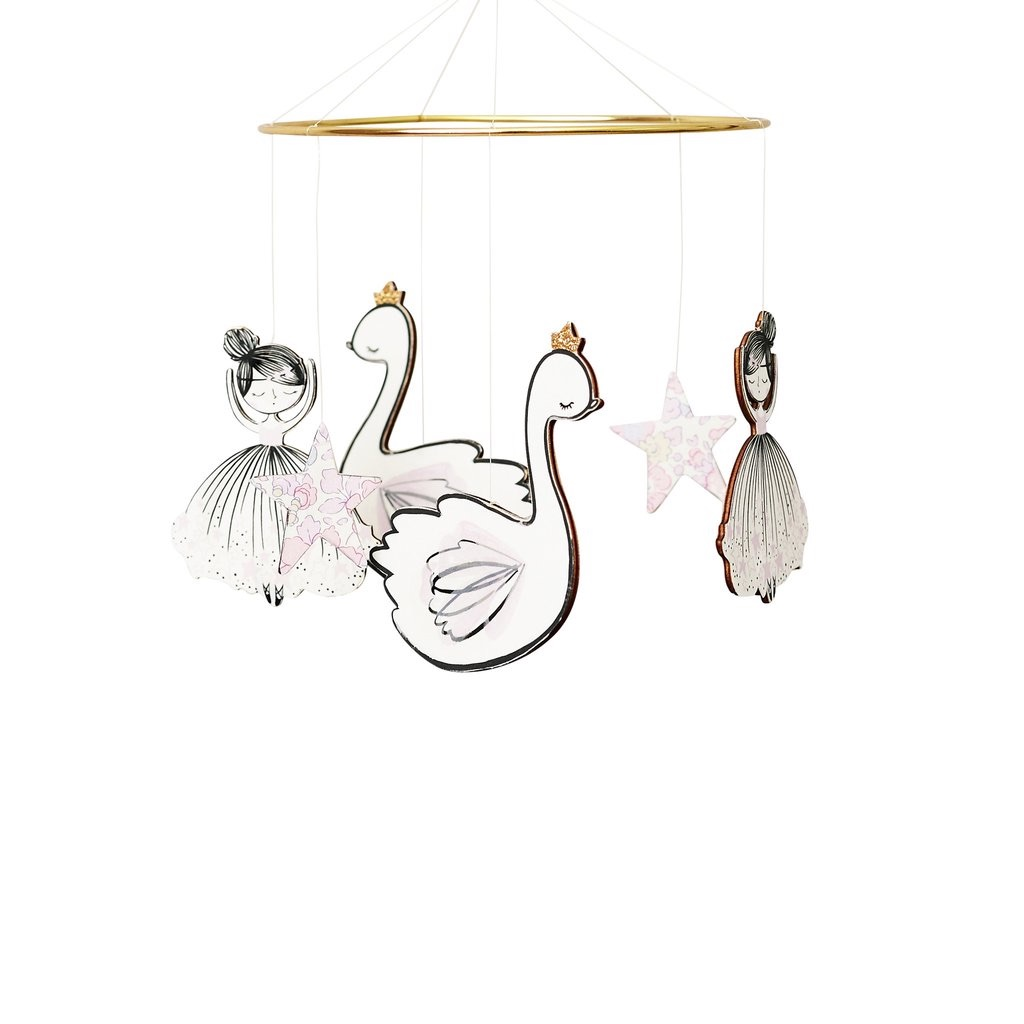 Little Cloud Ballerina and Swan Princess Liberty Betsy Rose Cot Mobile