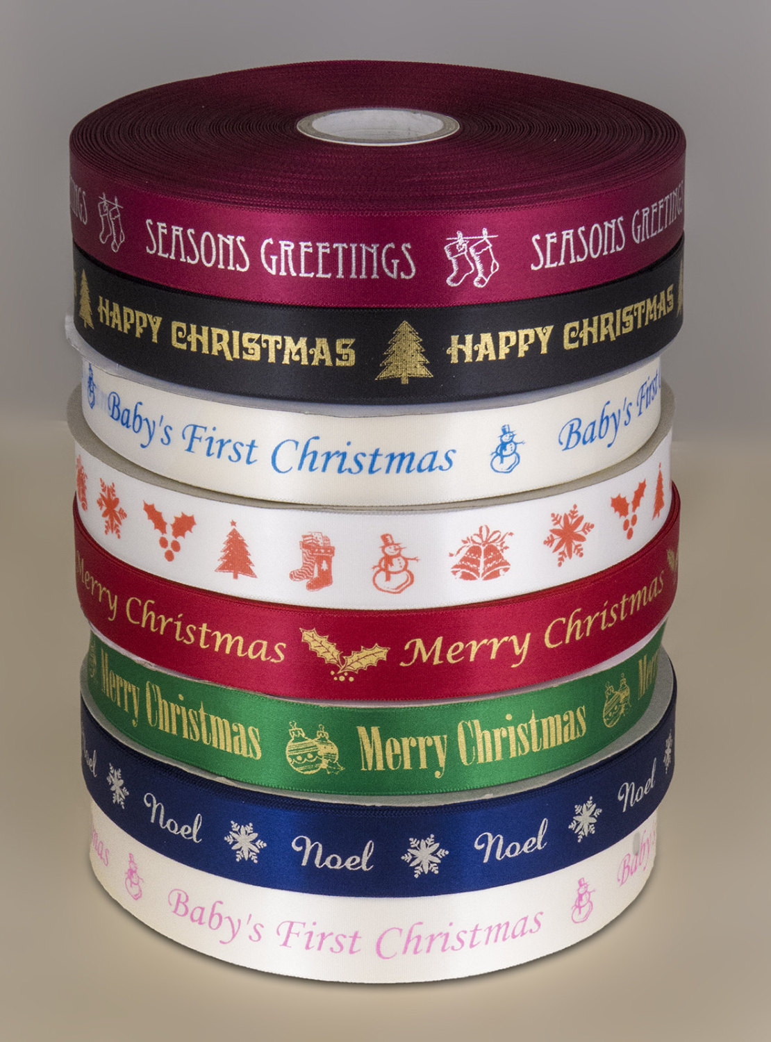 Christmas Print Ribbon - 25mm width single sided satin