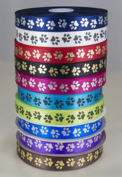 Paw print ribbon 25mm