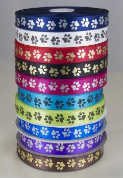 Paw print ribbon 25mm