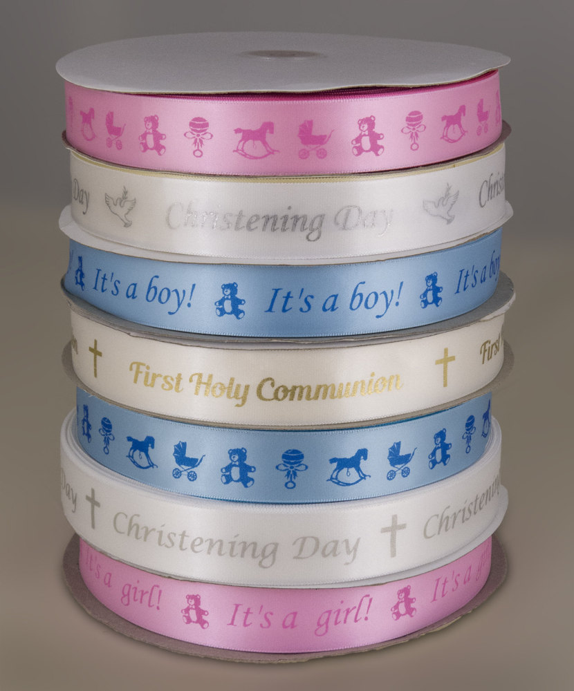 Baby and Christening ribbon 25mm