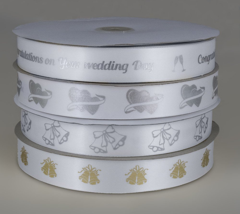 White Wedding print ribbon 25mm