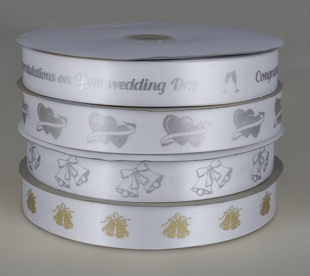 White Wedding print ribbon 25mm