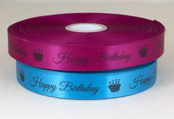 Happy Birthday ribbon 25mm satin