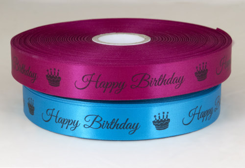 Happy Birthday ribbon 25mm satin