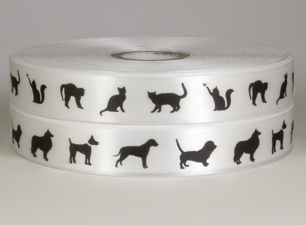 Cats and Dogs Ribbons 25mm Satin