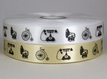 Vintage print satin ribbon 25mm - penny fathing, gramaphone and telephone