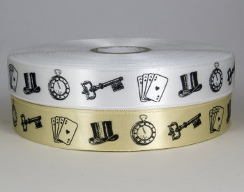 Vintage print satin ribbon 25mm - top hat, key, watch and playing cards