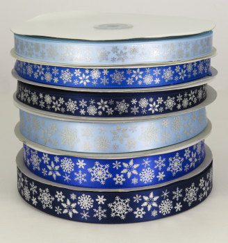 Snowflake printed satin ribbon 25mm and 15mm widths