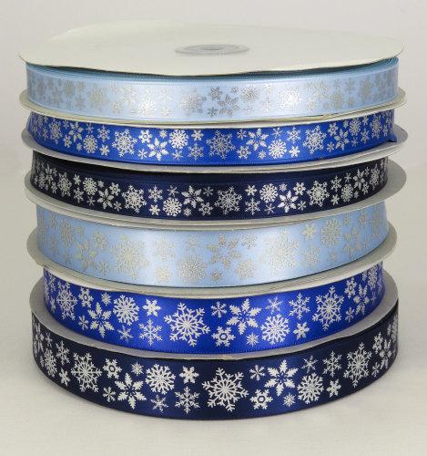 Snowflake printed satin ribbon 25mm and 15mm widths