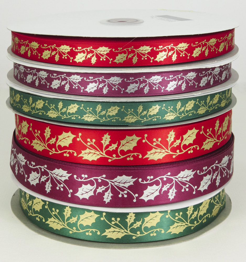 Holly design satin ribbon 25mm and 15mm widths