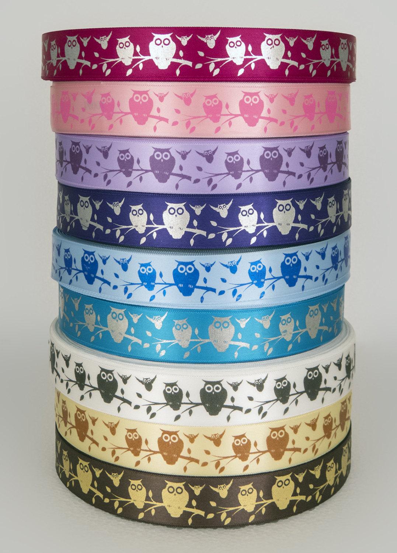 Owl print satin ribbon 25mm width