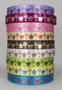 Cupcake print satin ribbon 25mm