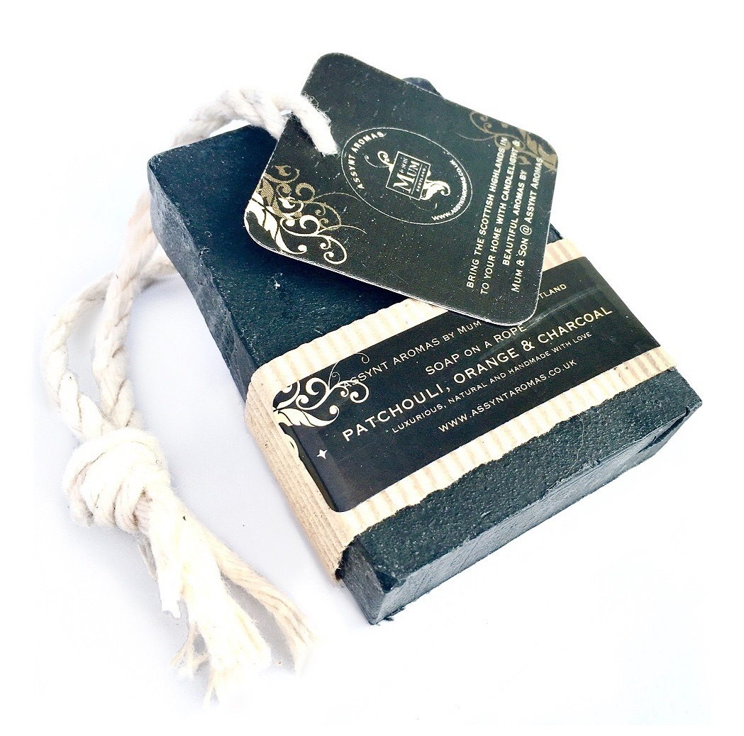 PATCHOULI, ORANGE & CHARCOAL  - handmade soap on a Rope