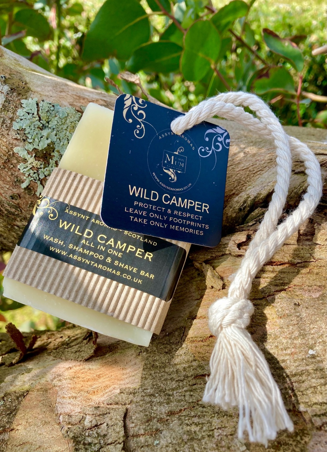 *NEW* All in One - WILD CAMPER - wash, shampoo & shave soap on a rope