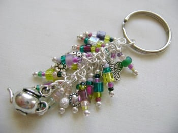 Lavender Garden Tea Time Bag Charm/Key Ring