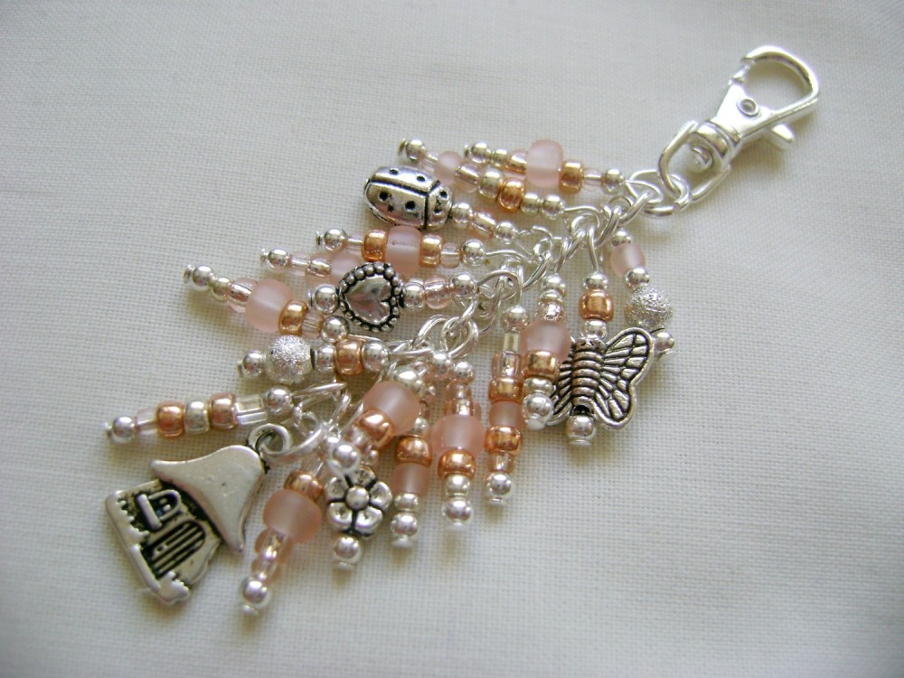 Champagne Fairy House Bag Charm/Key Ring
