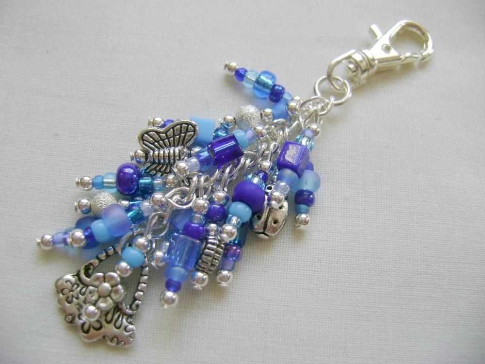<!-- 004 -->Beautiful Blues Hnadbag Bag Charm/Key Ring