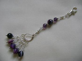 Purple Banded Agate Stitch Marker Holder and Stitch Marker Set