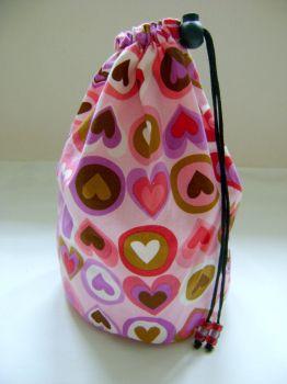 Pink Retro Hearts Project Bag