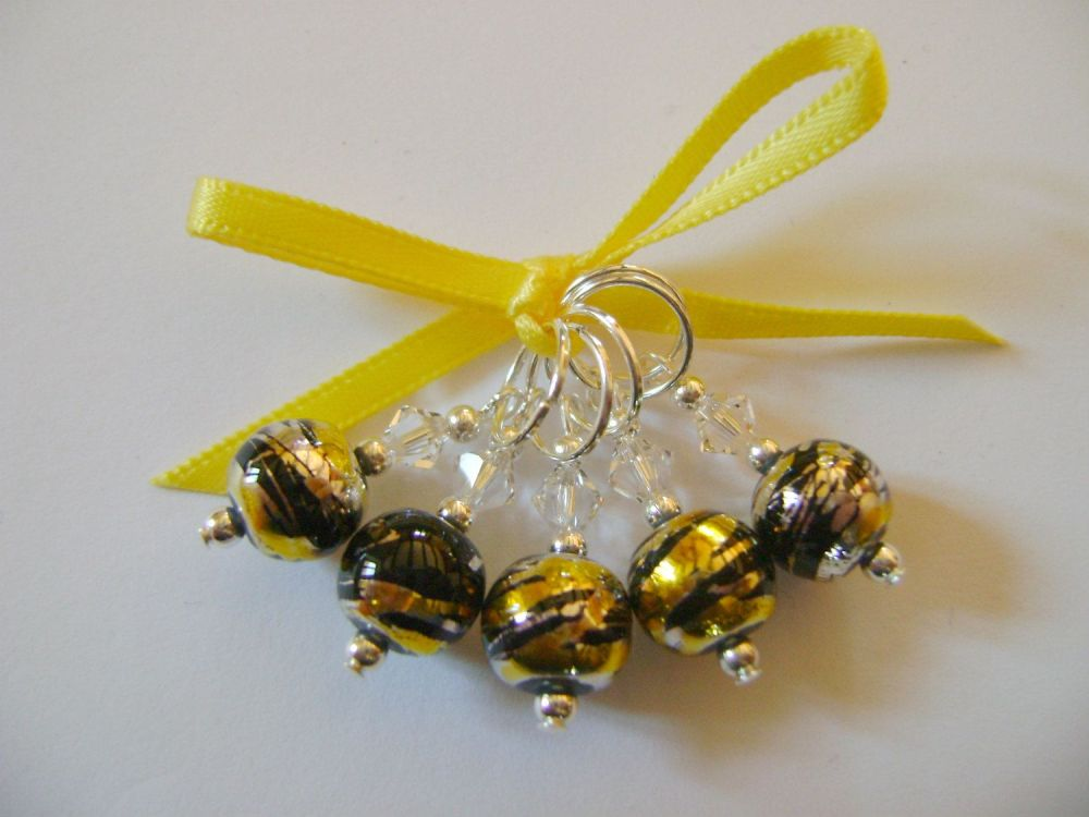 Black, Silver and Gold Art Glass