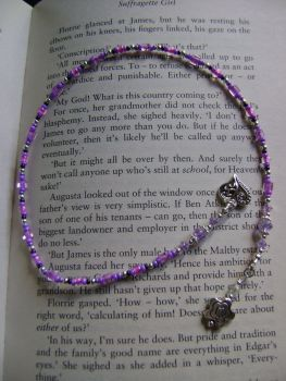 Heart and Flower Beaded Thong Bookmark - purples
