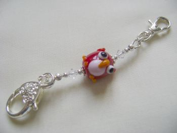 Red Glass Owl Stitch Marker Holder