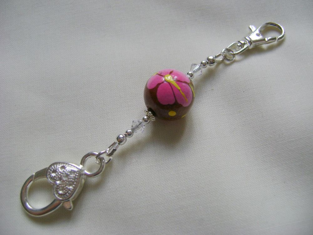 <!-- 015 -->Hand Painted Flower Stitch Marker Holder