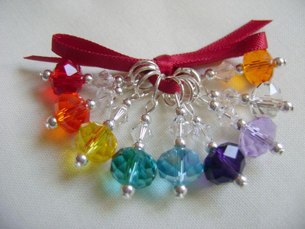 Rainbow Crystal Rondelle Stitch Markers - set 3