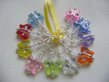 Rainbow Butterfly Acrylic Stitch Markers