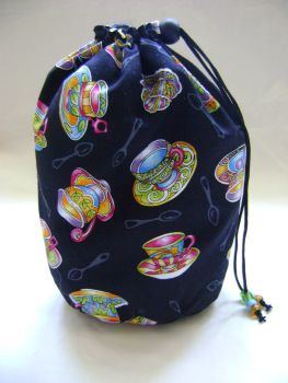 Tea for Two Tea Cups Project Bag