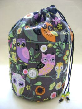 Floral Owls Project Bag