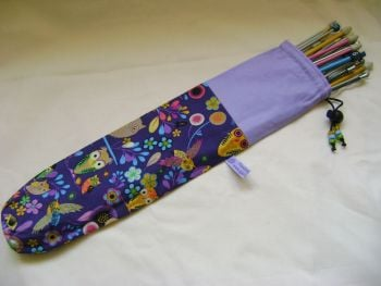 Floral Owls on Purple Single Point Straight Knitting Needle Bag