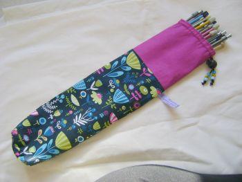 Flower Garden Single Point Straight Knitting Needle Bag