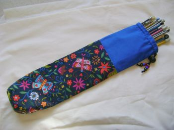 Midnight Garden Single Point Straight Knitting Needle Bag