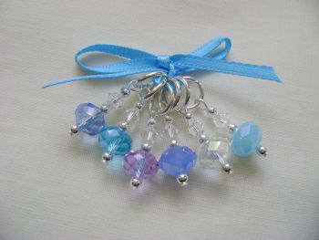 Lilac Blue Hues Crystal Rondelle Stitch Markers