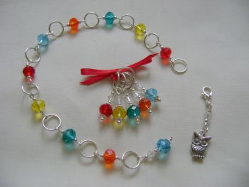 Rainbow Crystal Row Counter Stitch Marker Set