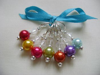 Bright Rainbow Pearl Stitch Markers