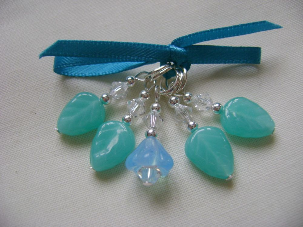 Turquoise Leaves and Bellflower Stitch Markers