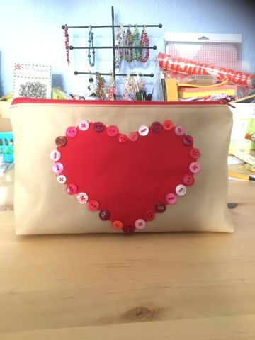 Valentine Button Heart Project Bag