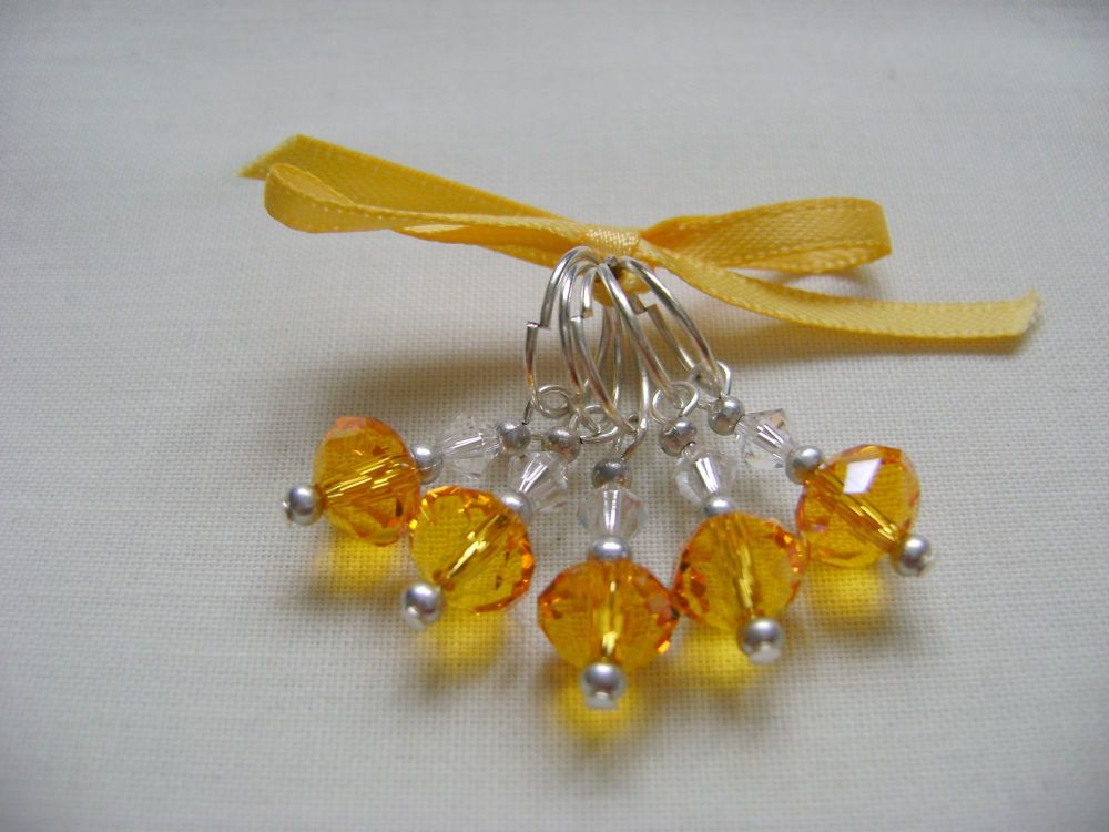 Amber Faceted Stitch Markers