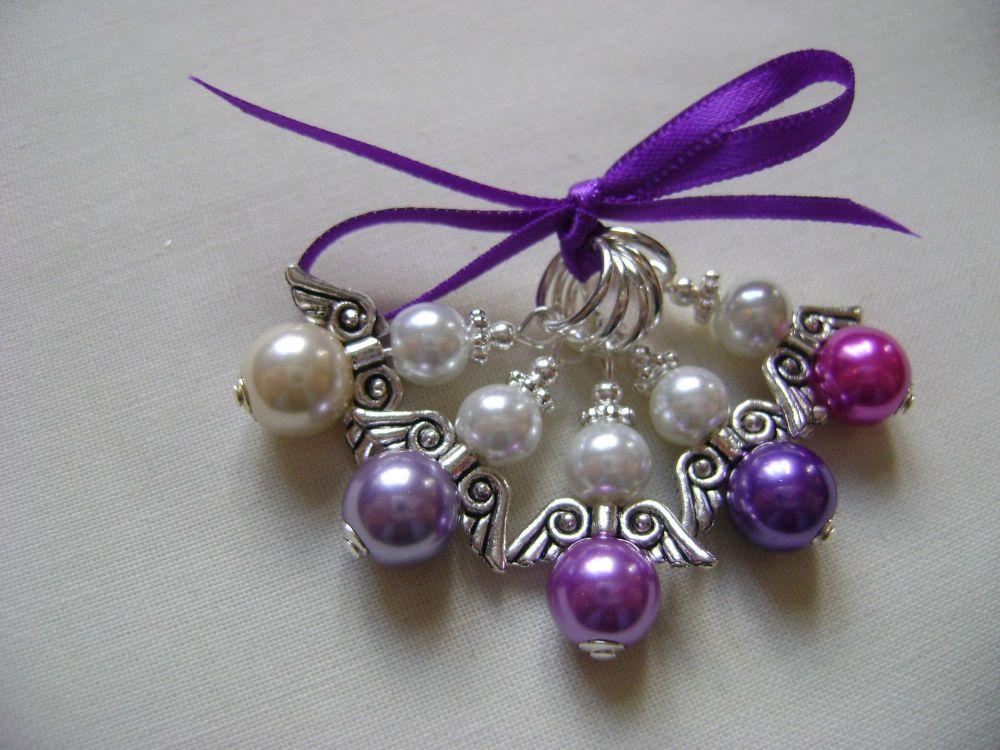 Guardian Angel Pearls - pink purple