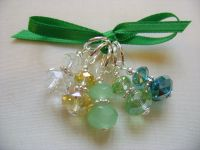 Spring Green Crystal Rondelle Stitch Markers