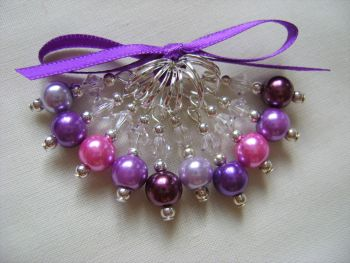 Pink and Purple Pearl Stitch Markers
