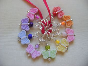 Butterfly Rainbow Acrylic Stitch Markers