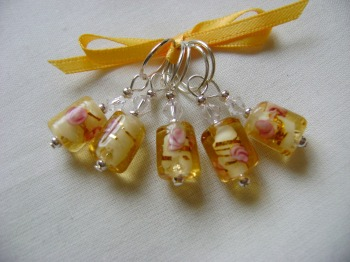 Yellow Rose Lampwork - tube