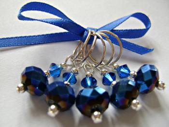 Blue Iris Rondelle Stitch Markers
